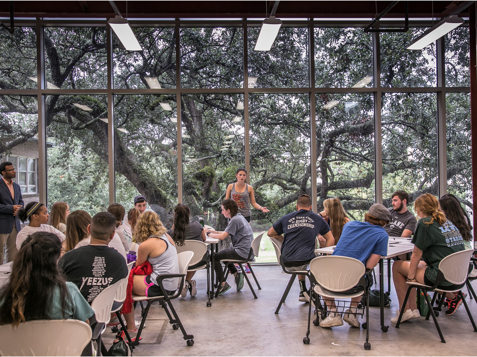 Classroom of students in Flower Hall.